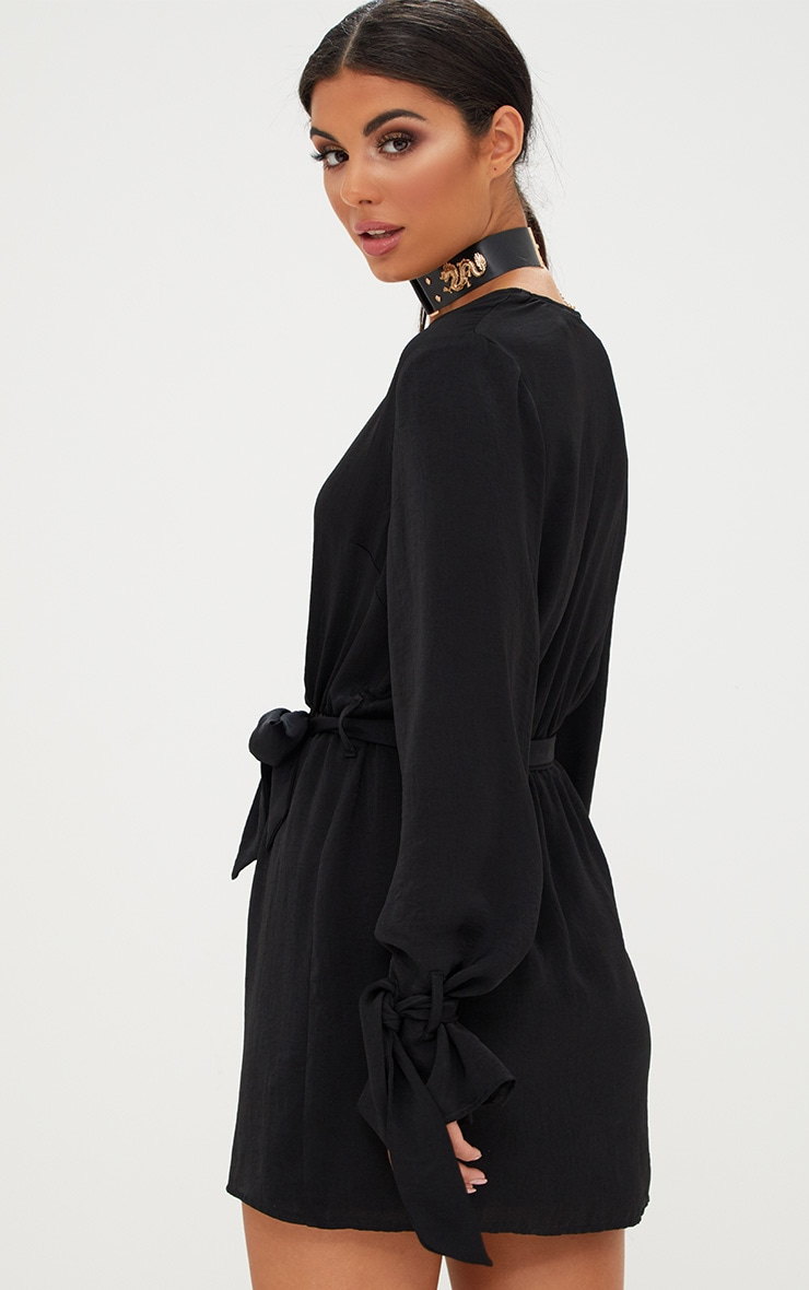 Black Satin Wrap Cuff Detail Shift Dress 2
