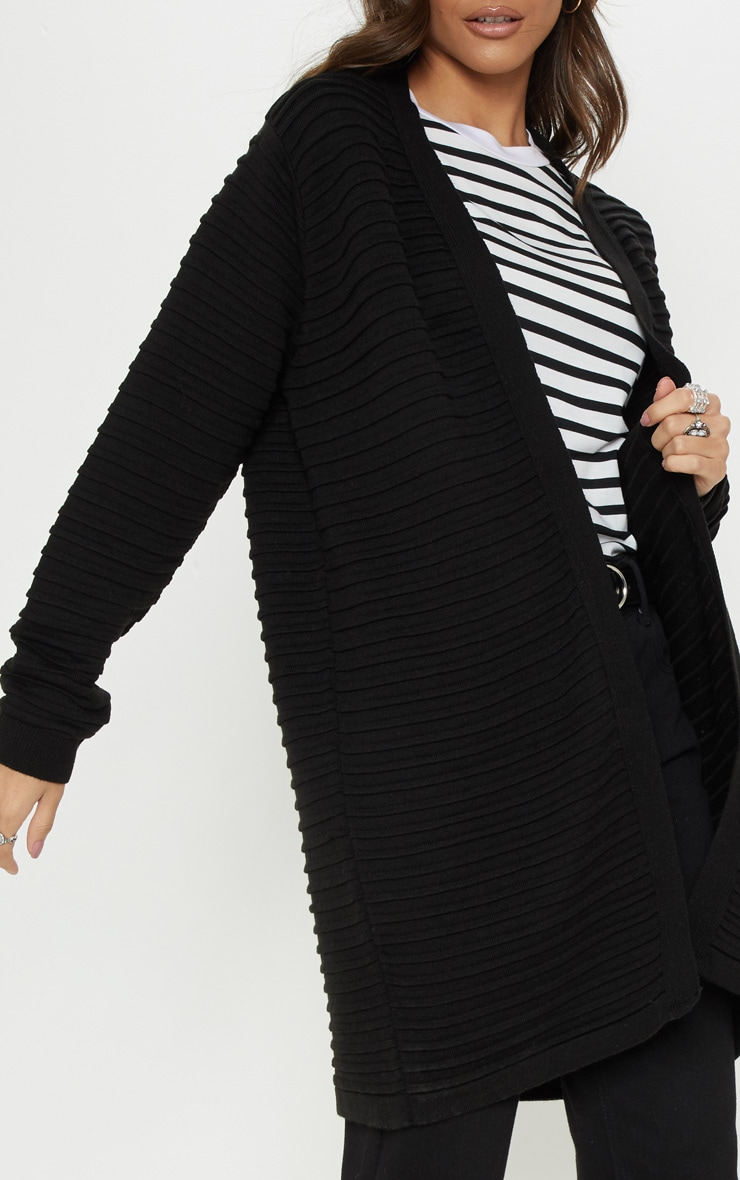 Black Chunky Ribbed Knitted  Cardigan  5