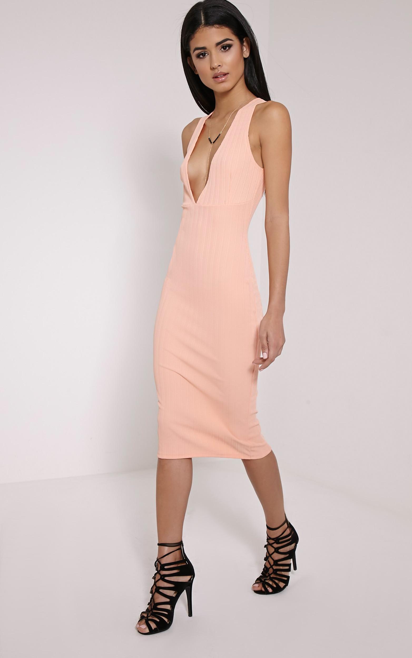 Isidora Peach Ribbed Deep V Midi Dress 3