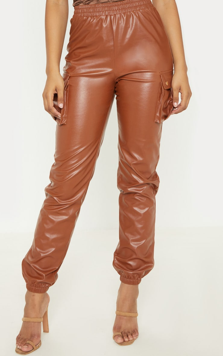 Tall Rust Faux Leather Pocket Detail Joggers  2