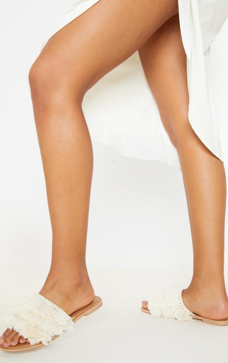 Cream Fringe Mule Sandal 1
