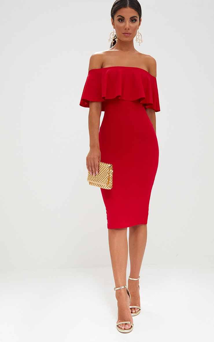 Red Bardot Frill Midi Dress  4