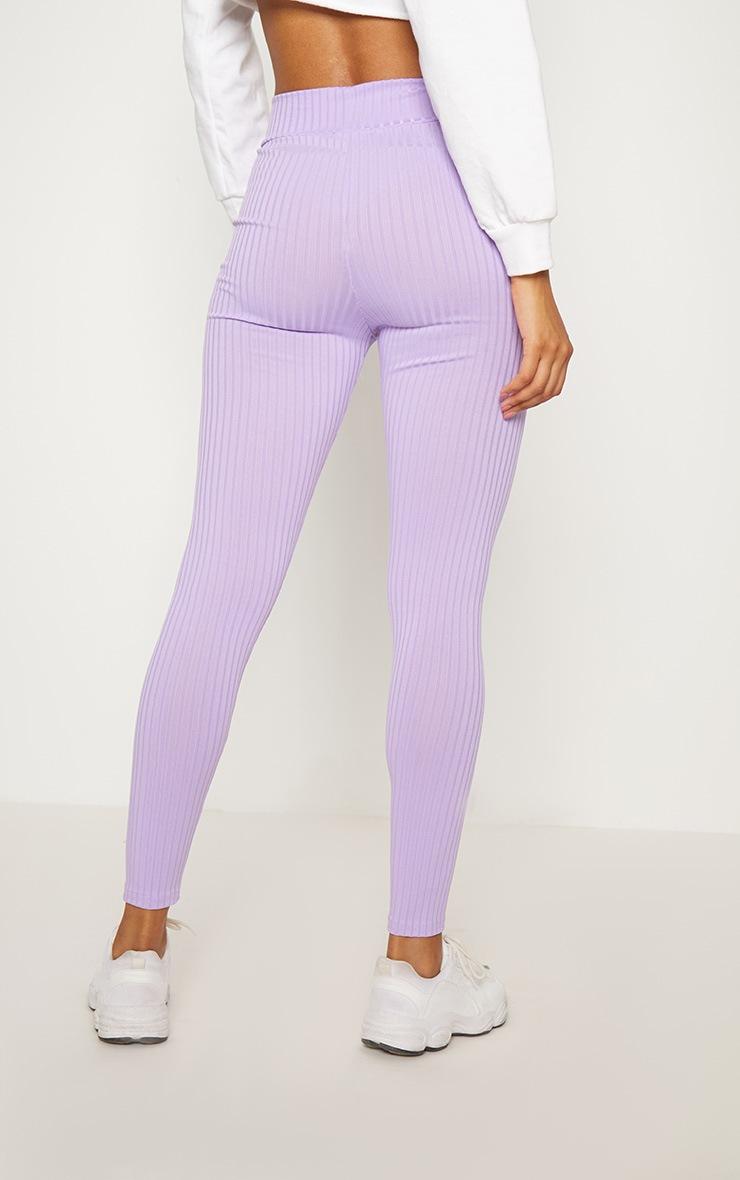 Lilac Ribbed High Waisted Legging  3