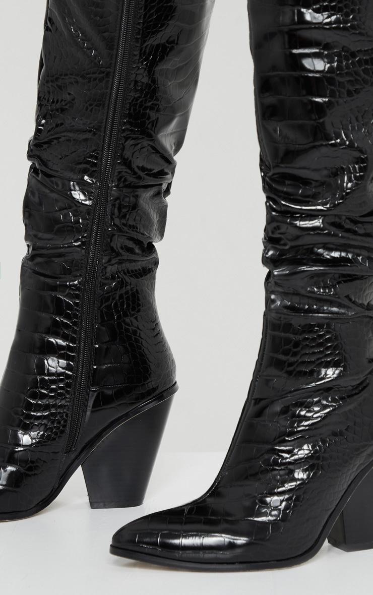 Black Croc Knee High Western Heel Boots 3