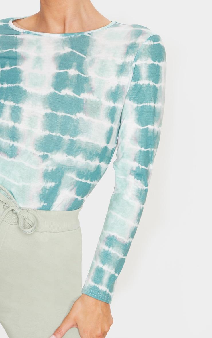 Green Tie Dye Crew Neck Long Sleeve T Shirt 6