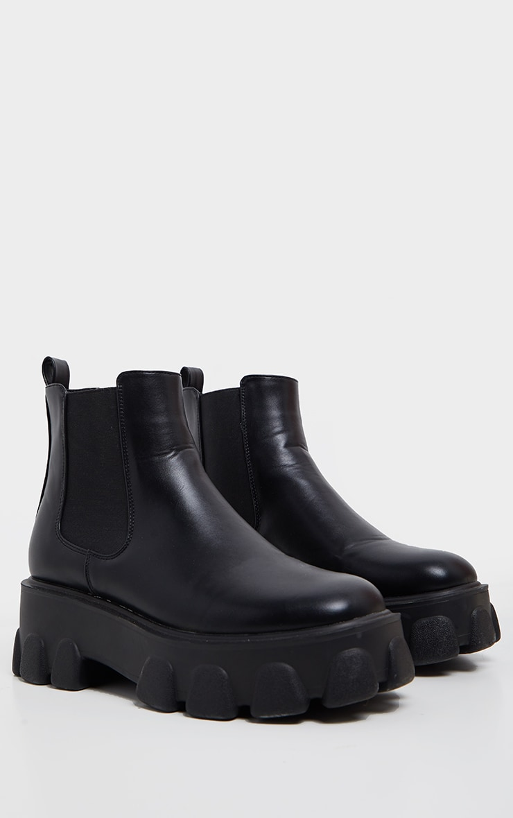 Black Chunky Heavy Cleated Sole Chelsea Ankle Boot 3