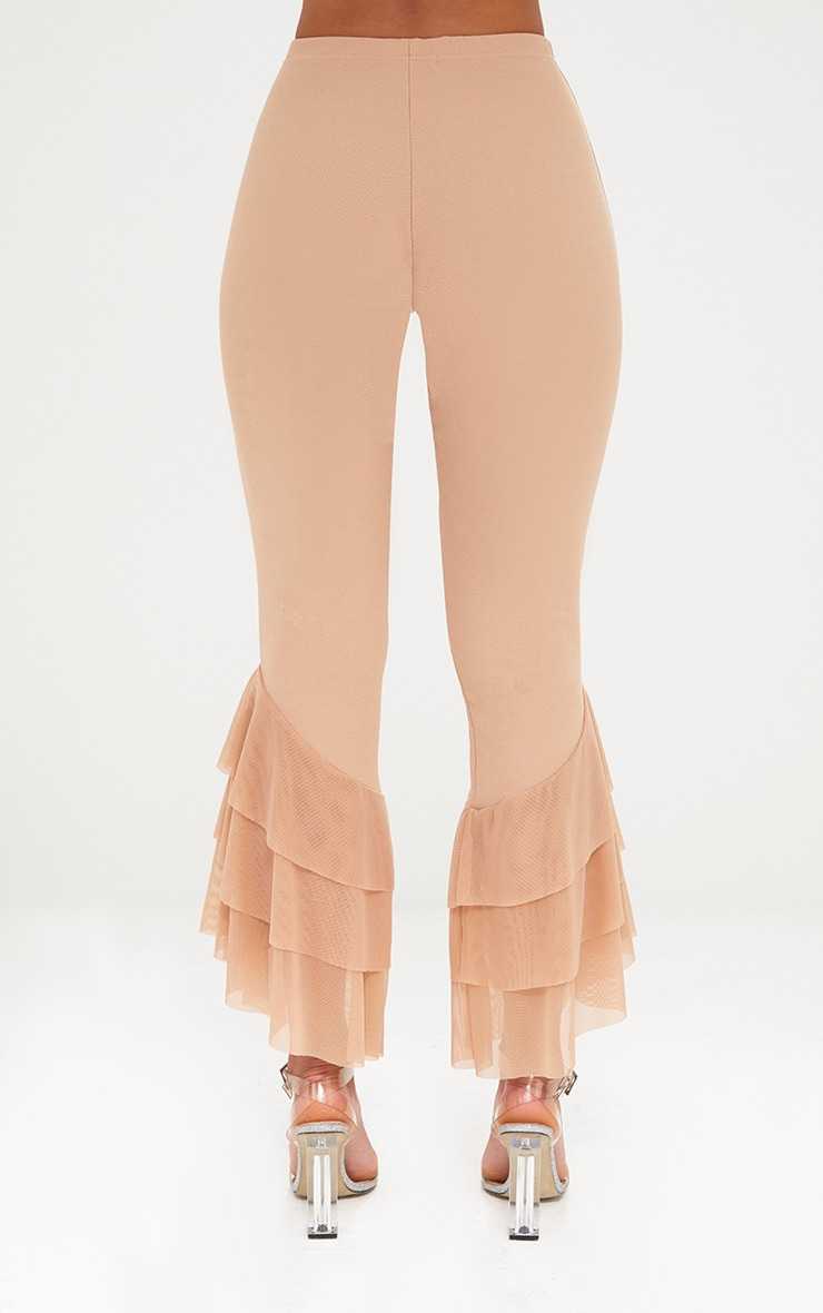 Sand Tulle Frill Flared Trousers 4