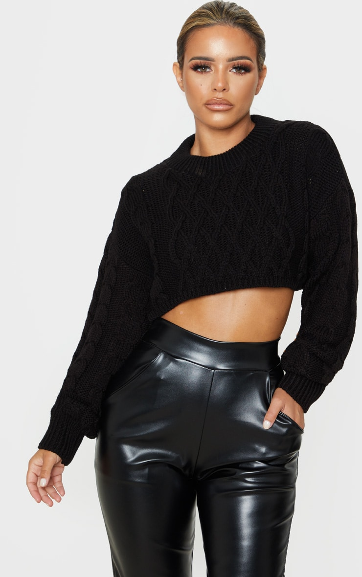 Petite Black Chunky Knit Super Cropped Sweater  1