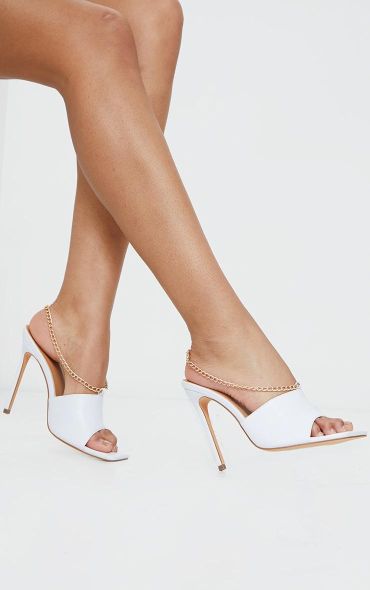 White Chain Sling Back Square Toe Mule Heels 2