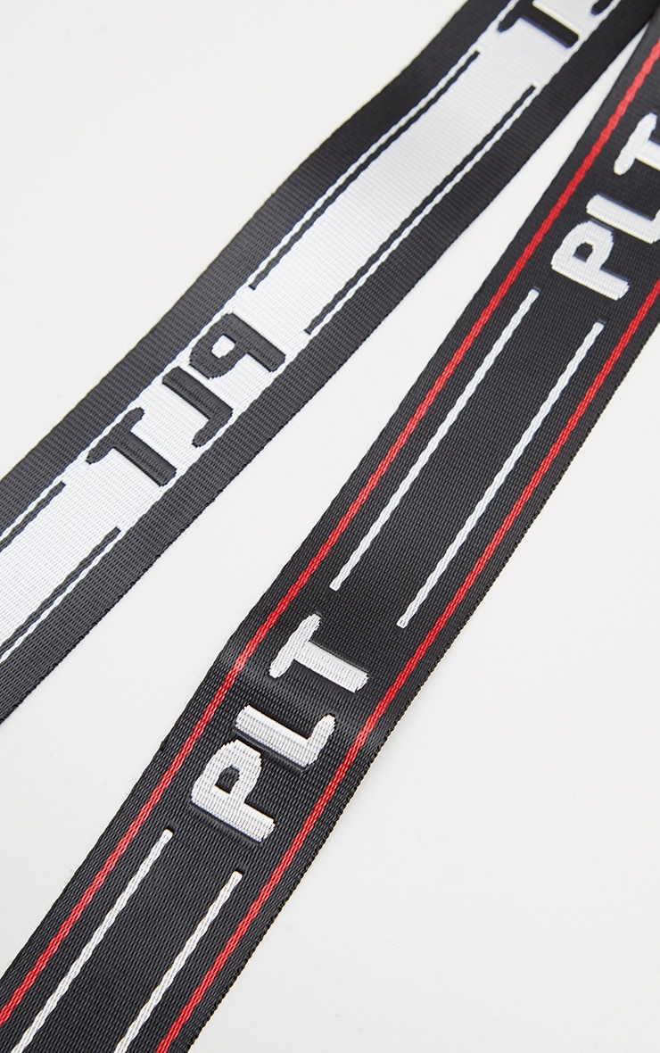 PRETTYLITTLETHING Black Logo Tape Belt 4