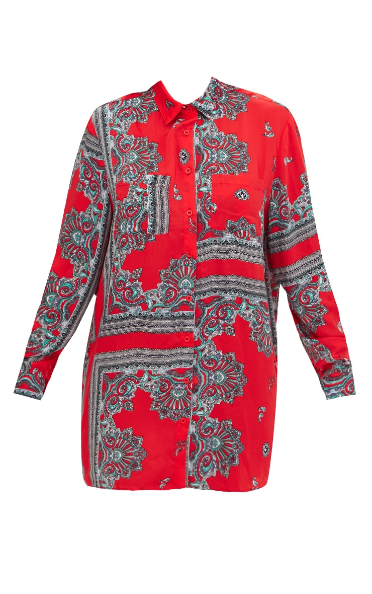 Red Scarf Print Shirt Dress 3