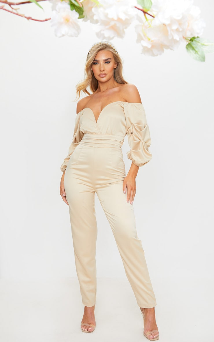Nude V Bar Gathered Sleeve Bardot Jumpsuit 1