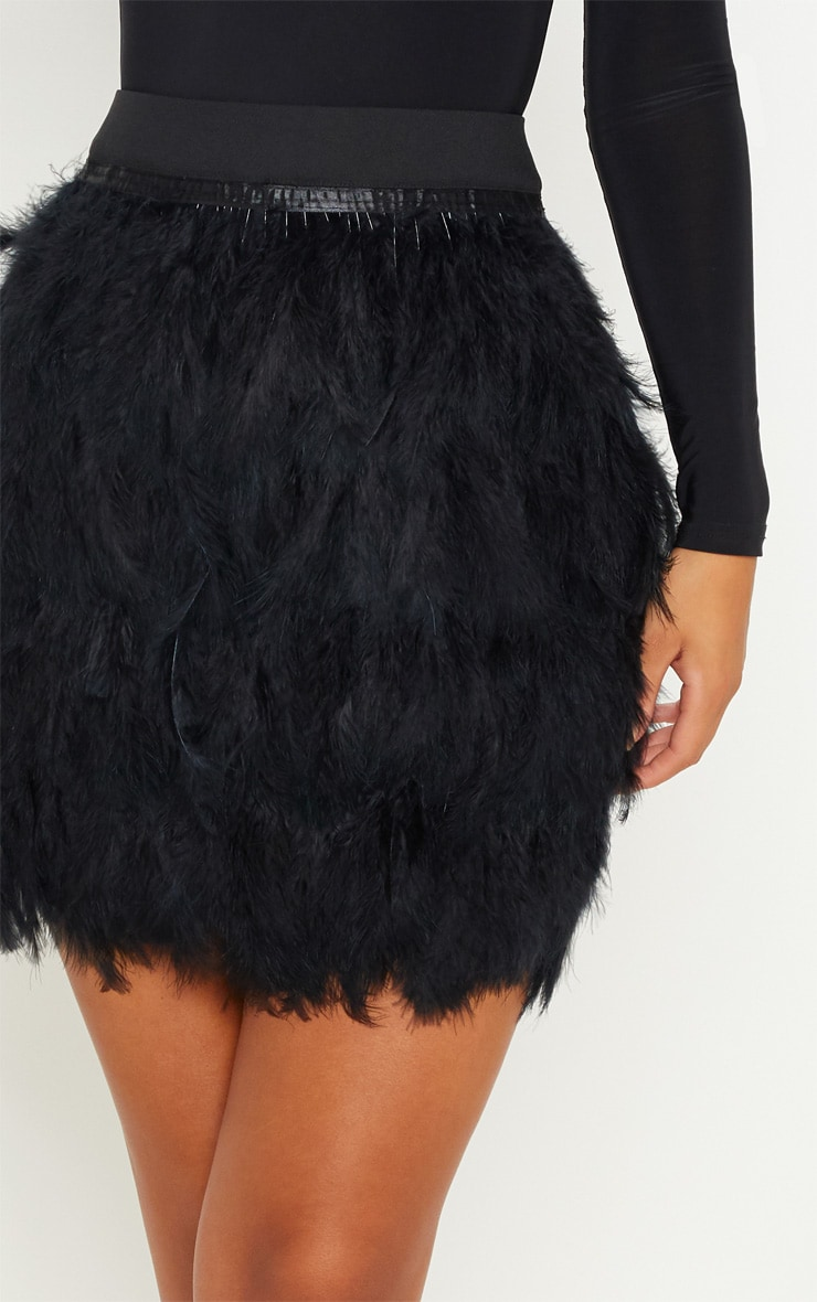 Black Tiered Feather Mini Skirt 6