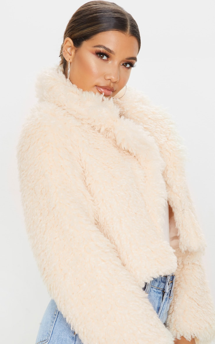 Stone Teddy Faux Fur Cropped Jacket  5