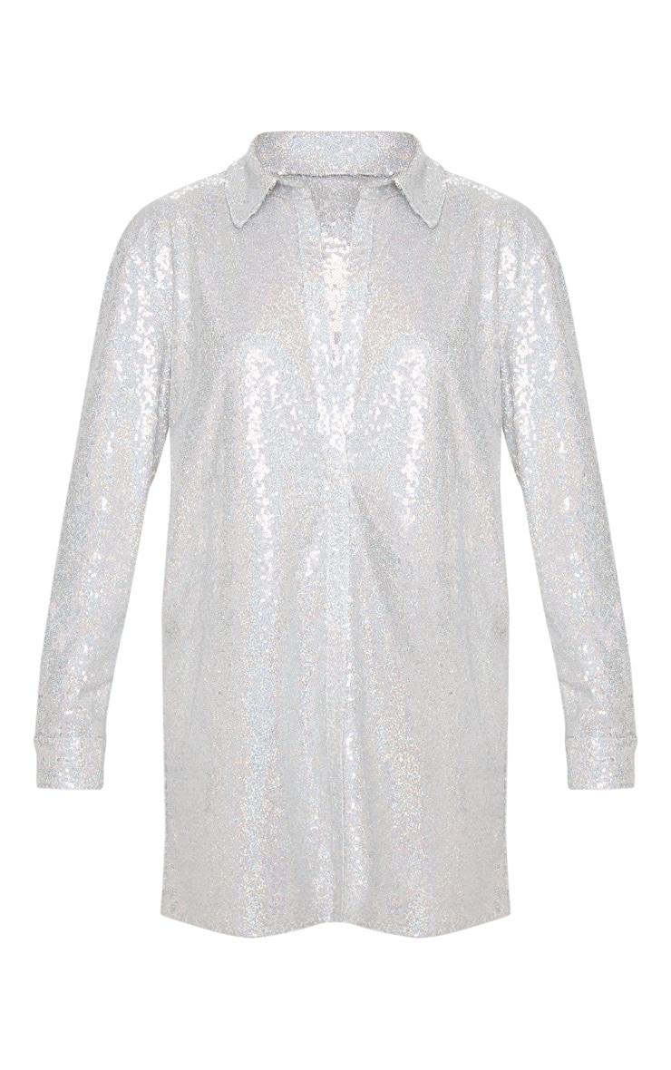 Silver Sequin Shirt Dress 3