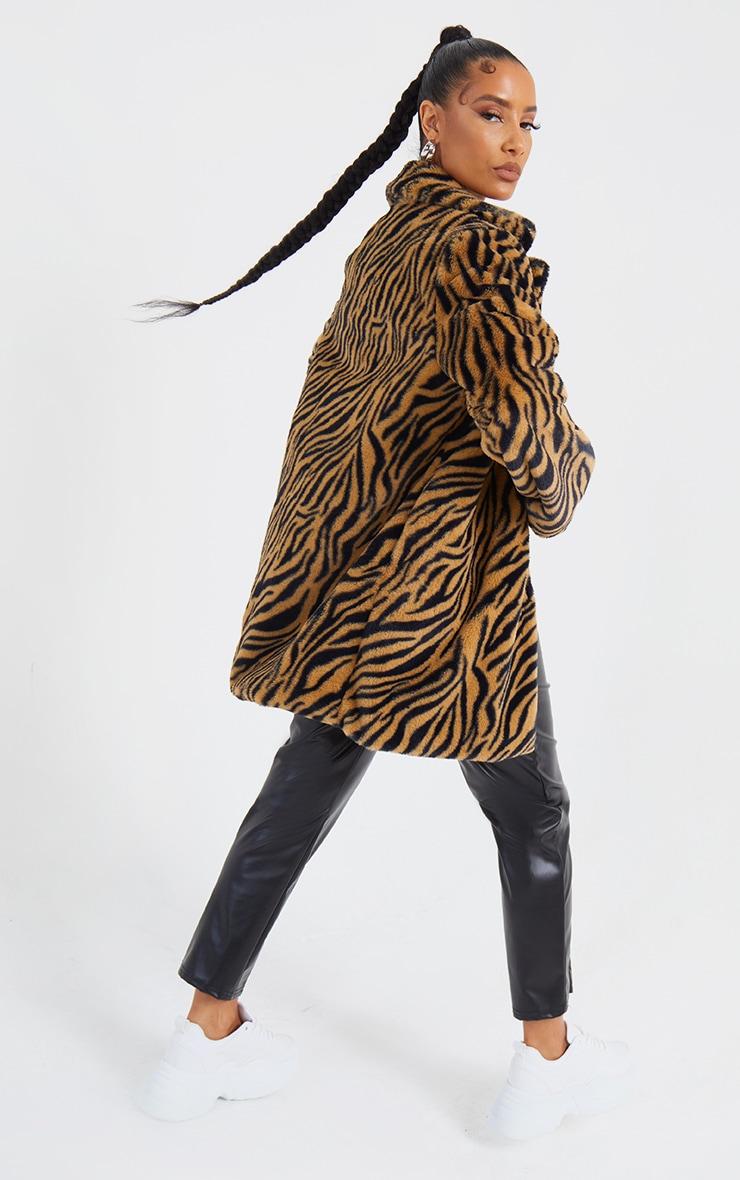 Brown Faux Fur Tiger Print Coat 2