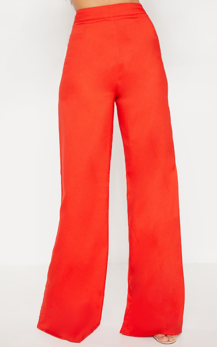Red Woven Wide Leg Trouser 2