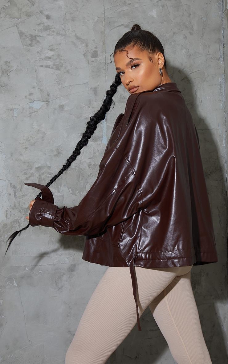 Chocolate Faux Leather Extreme Oversized Biker Jacket 3