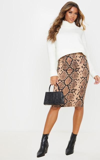 Tan Snake Print Rib Midi Skirt