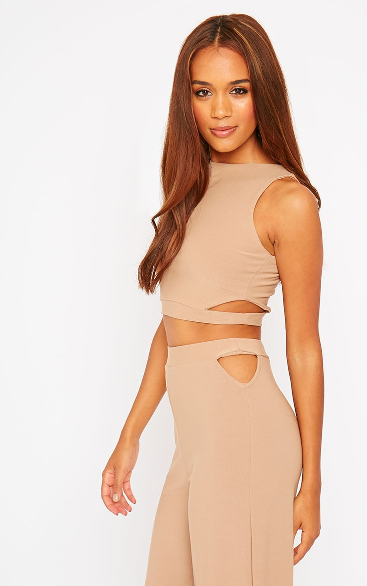 Elphina Camel Crepe Cut Out Crop Top 4