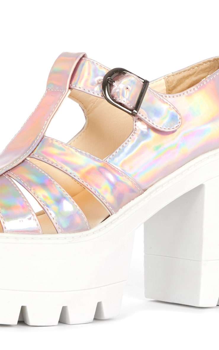 Jamiya Pink Holographic Cut Out Heeled Sandals 4