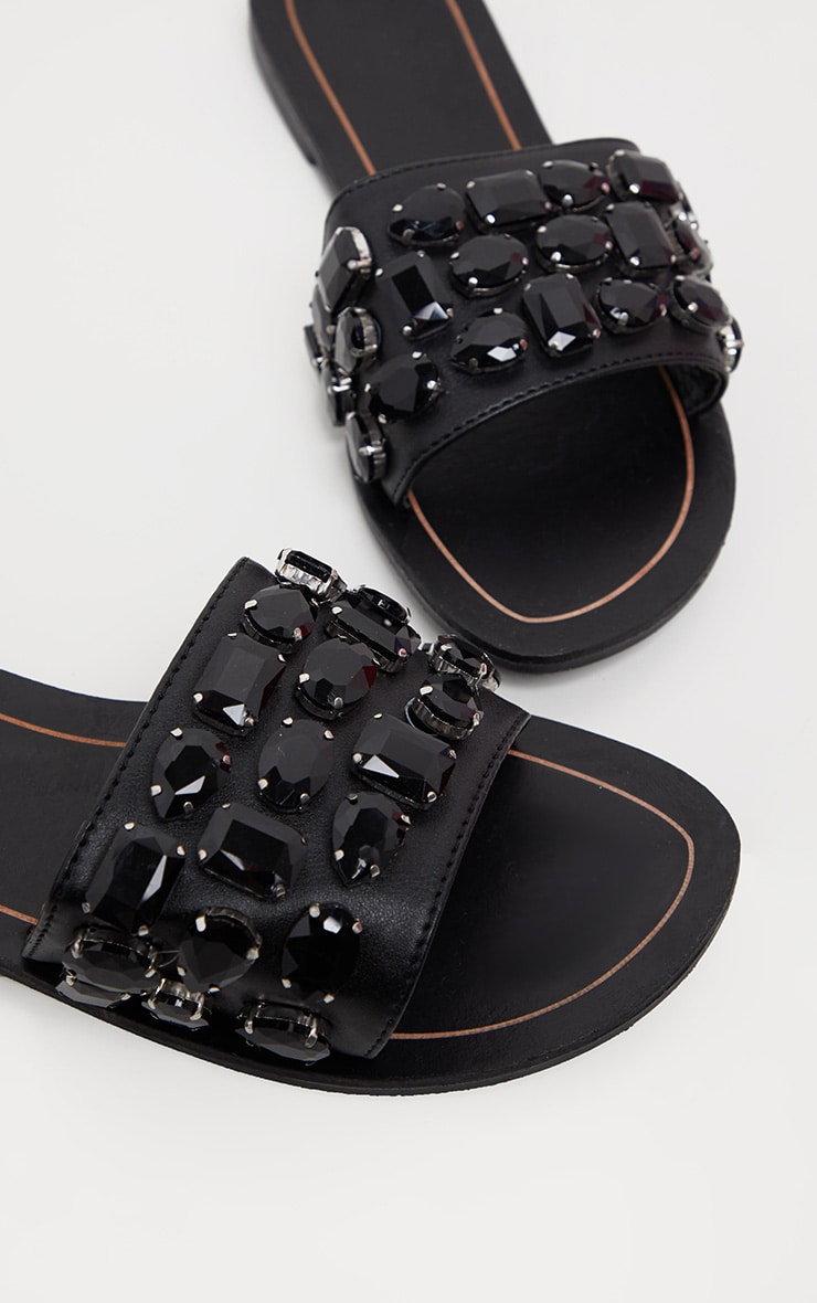 f85a3968988f Black Diamante Jewel Slider Sandal image 4