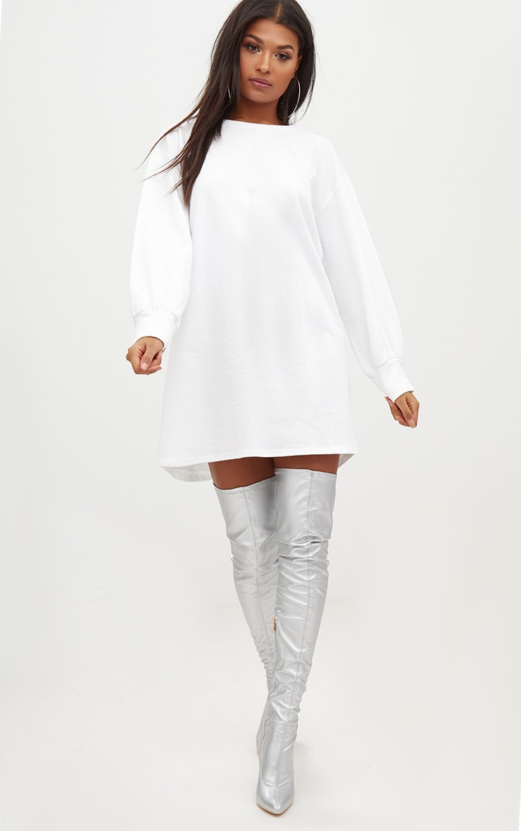 Sianna White Oversized Sweater Dress 4