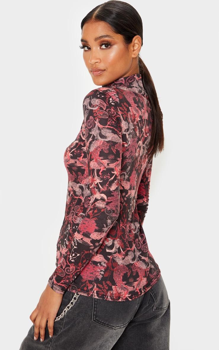 Pink Peacock Printed High Neck Long Sleeve T Shirt 2