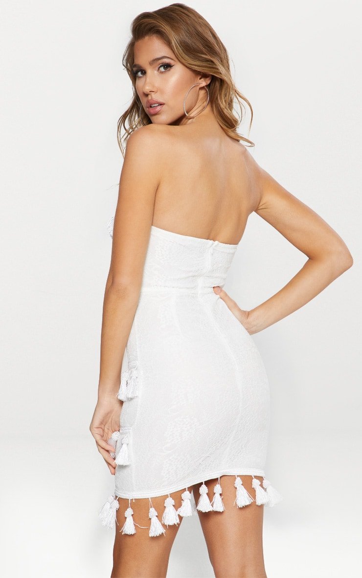 White Lace Tassel Trim Bandeau Bodycon Dress 2