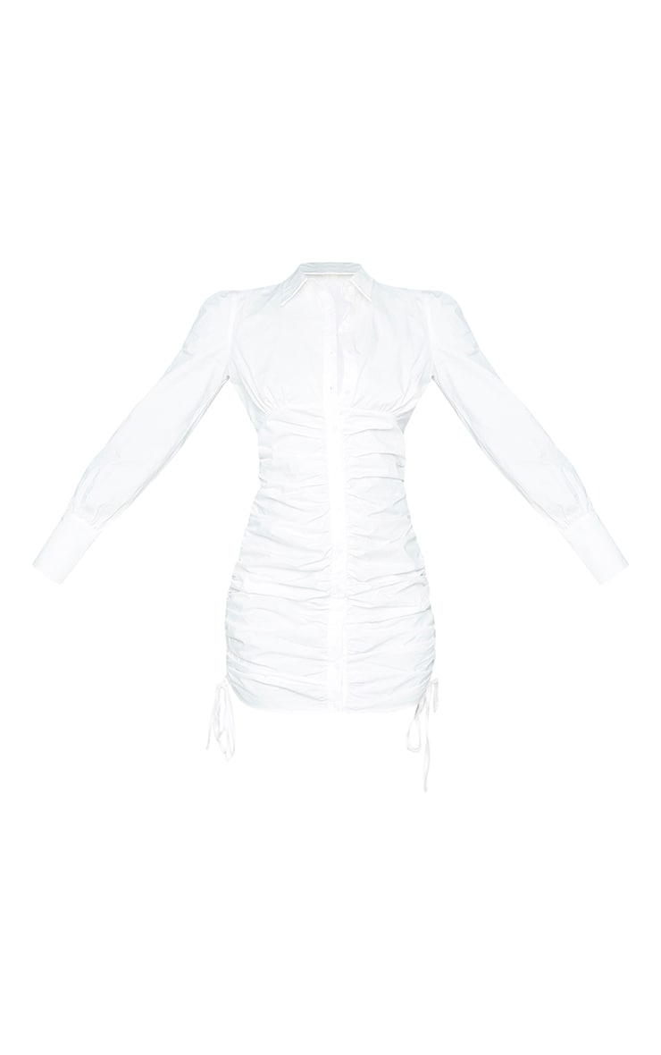 White Ruched Long Sleeve Shirt Dress 5