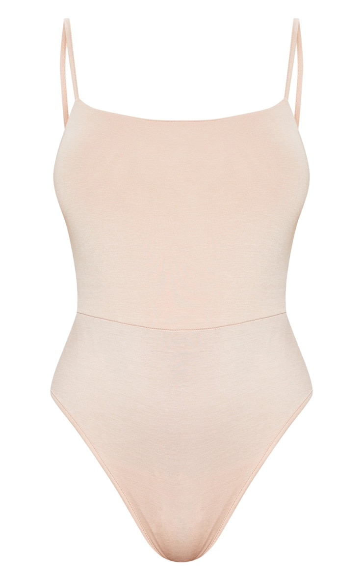 Basic Nude Square Neck Thong Bodysuit 3