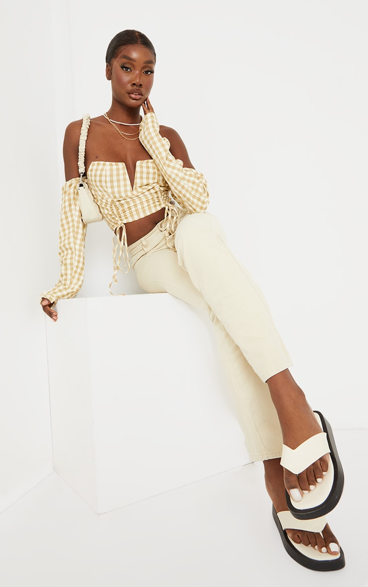 Tall Stone Ruched Front Gingham Bardot Cropped Blouse 3