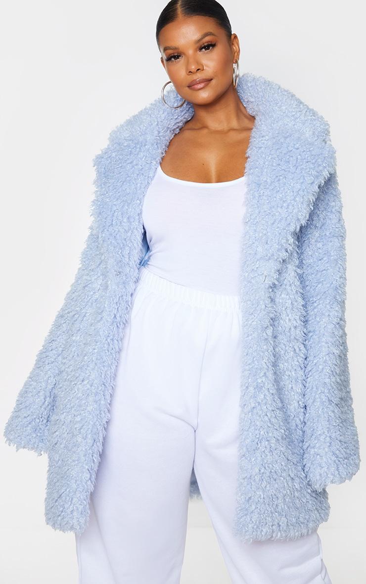 Plus Baby Blue Teddy Faux Fur Coat 3