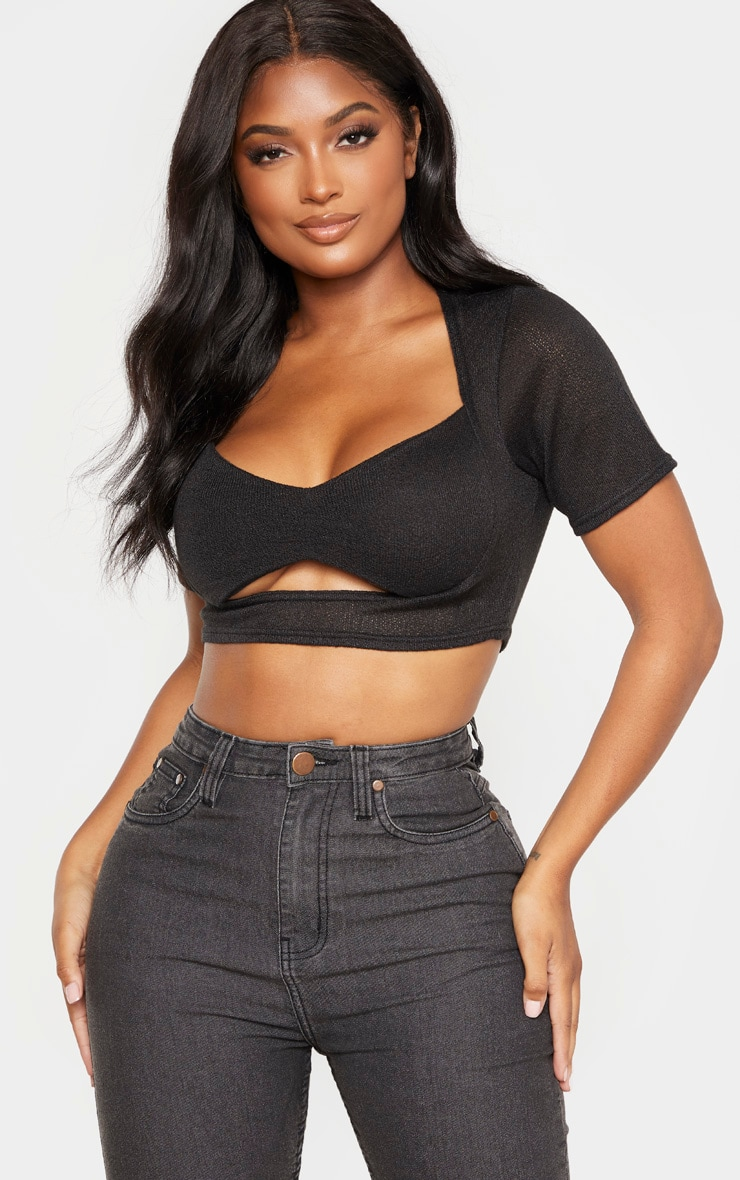 Shape Black Knitted Ruched Front Cut Out Crop Top 1