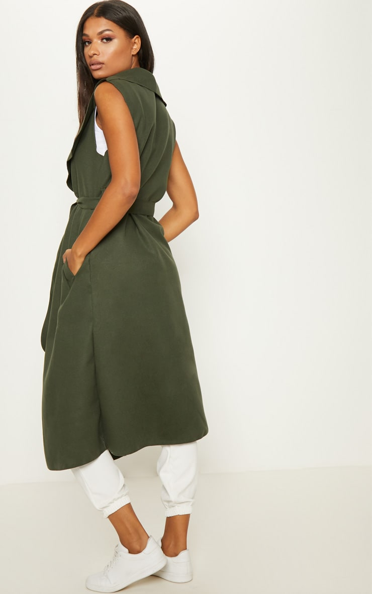 Valerie Khaki Sleeveless Waterfall Coat  2