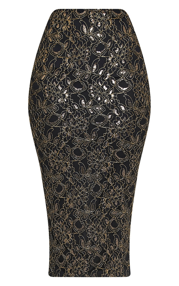 Brigitte Black Metallic Lace Midaxi Skirt 3