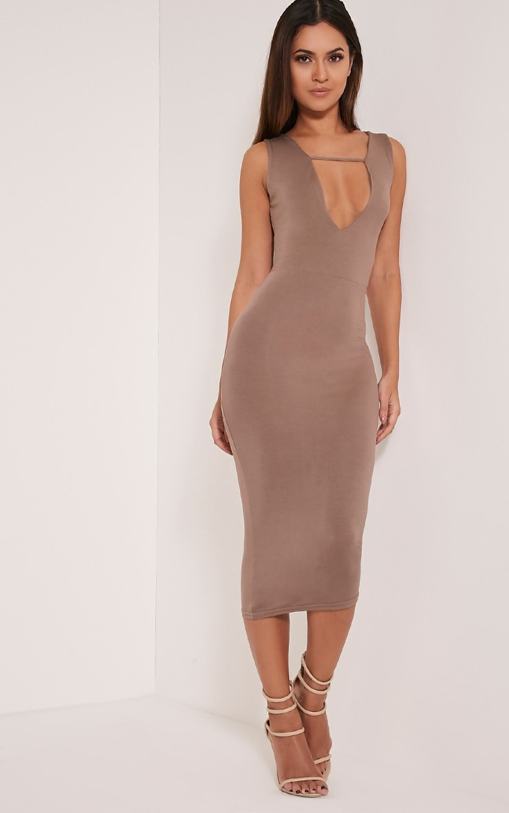 Basic Taupe Strap Detail Plunge Midi Dress 1