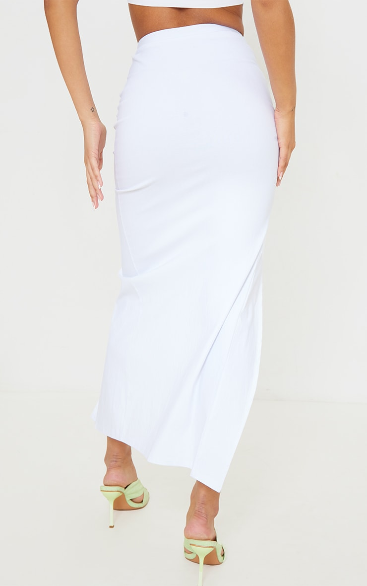 White Stretch Woven Ruched Split Leg Tie Front Midaxi Skirt 3