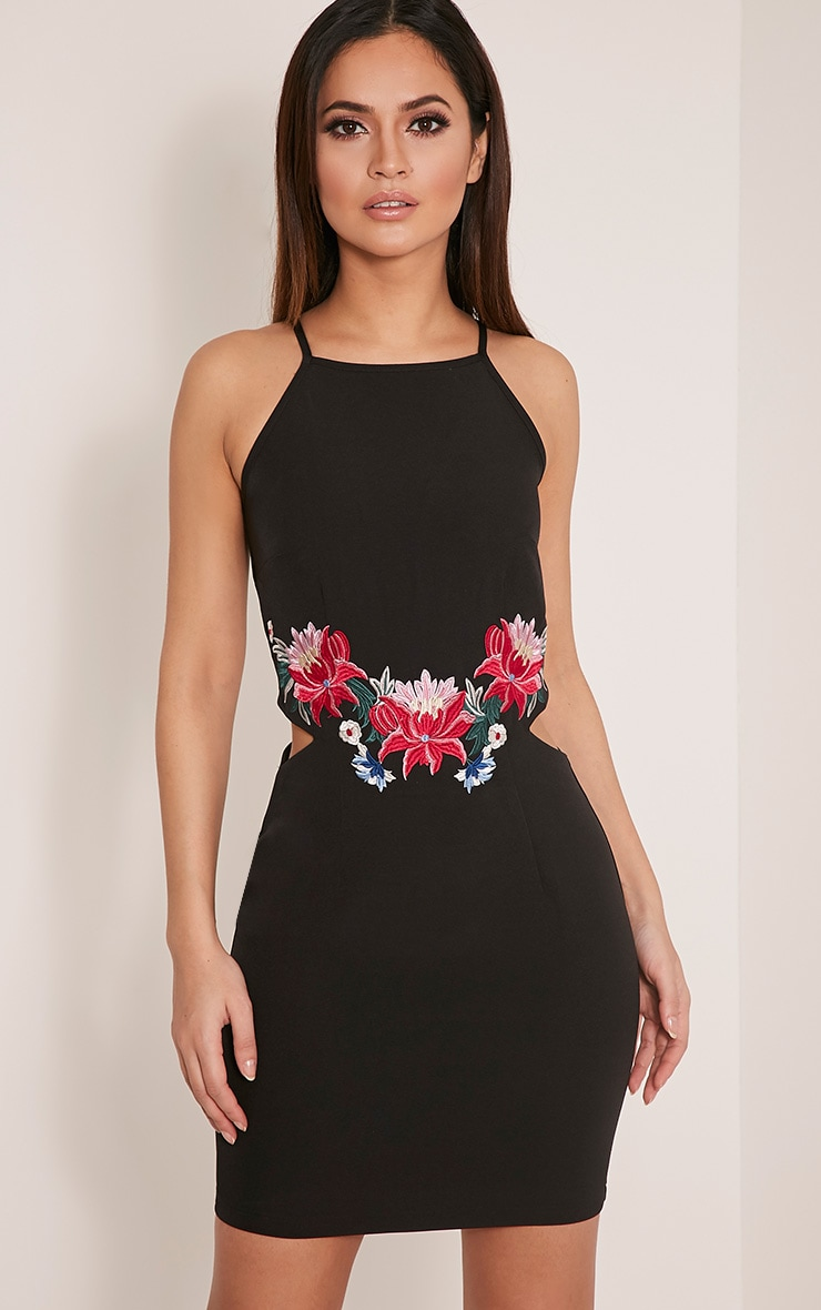 Karianna Black Floral Embroidered Cut Out Bodycon Dress 1