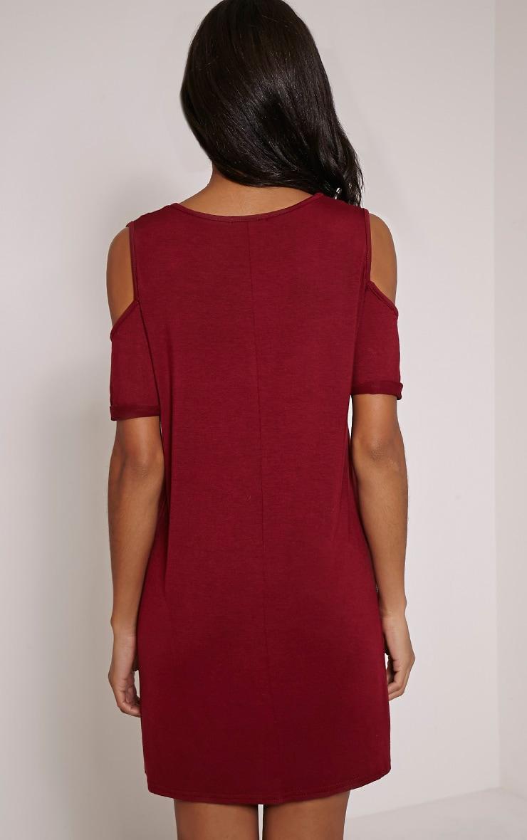 Basic Burgundy Cut Out Shoulder Dress 2