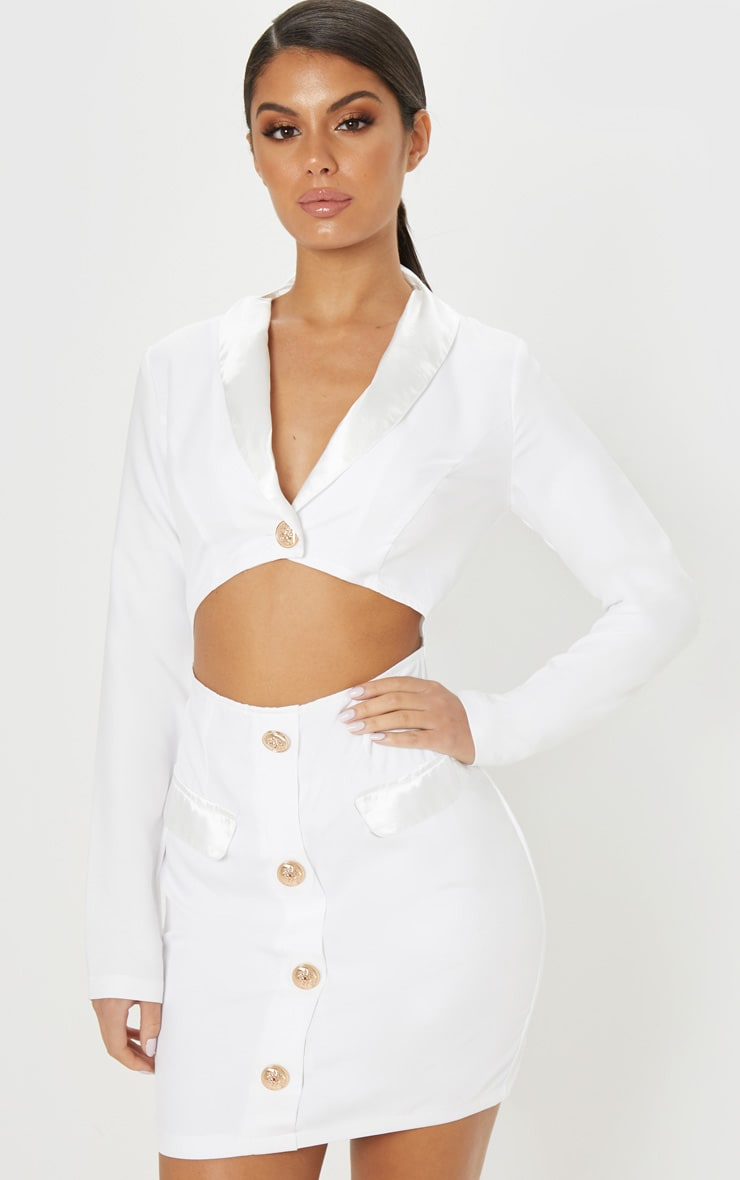 White Gold Button Satin Insert Cut Out Blazer Dress 1