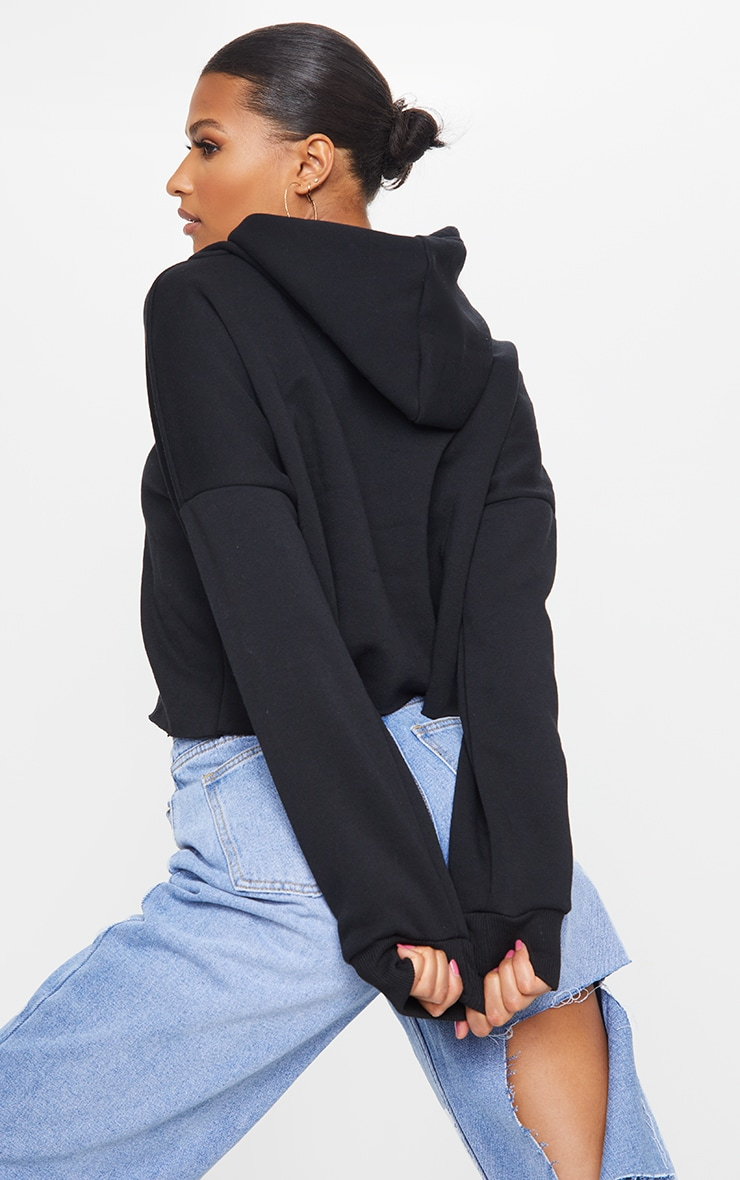 Black Ultimate Oversized Crop Hoodie 2