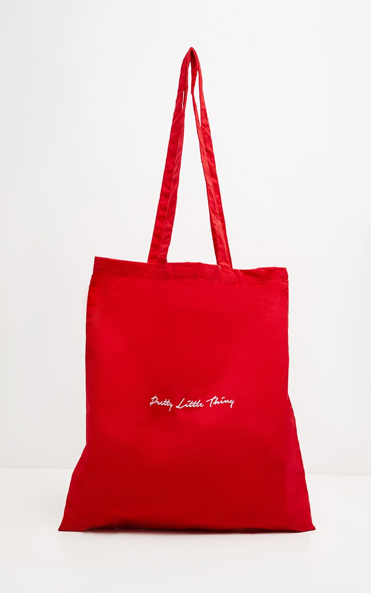 PRETTYLITTLETHING Bright Red Tote Bag 2