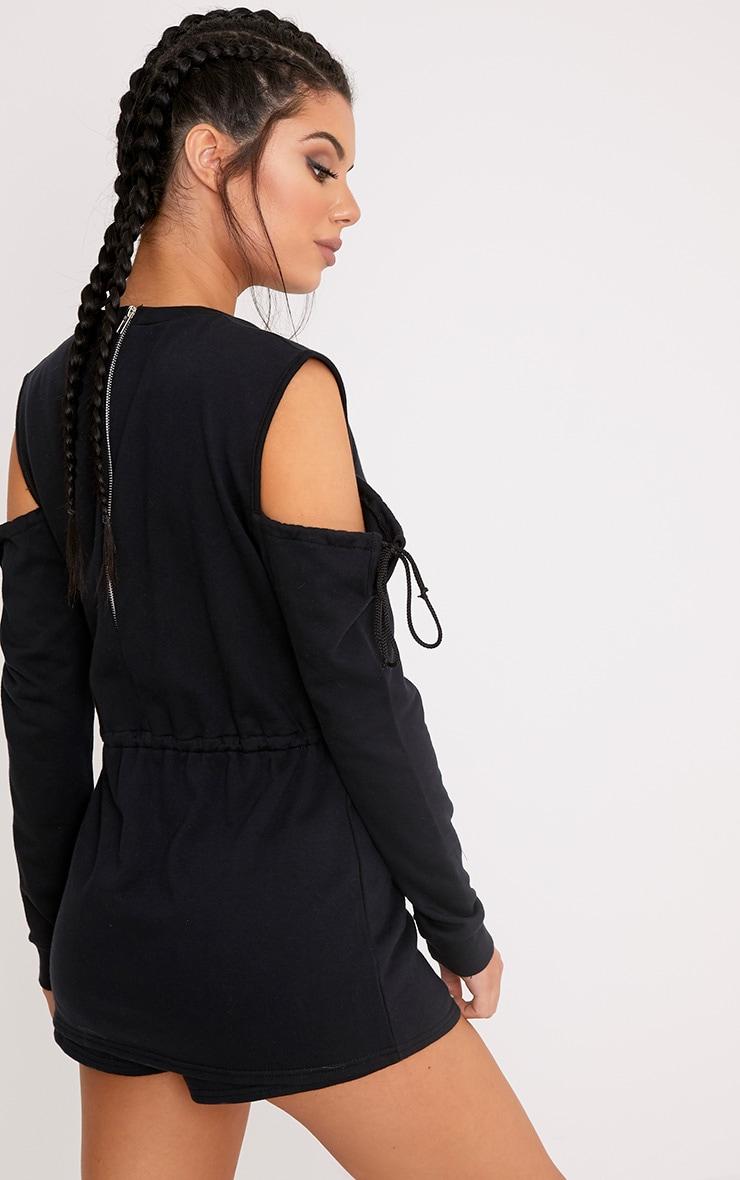 Poppie Black Sweater Cold Shoulder Skirt Playsuit 2