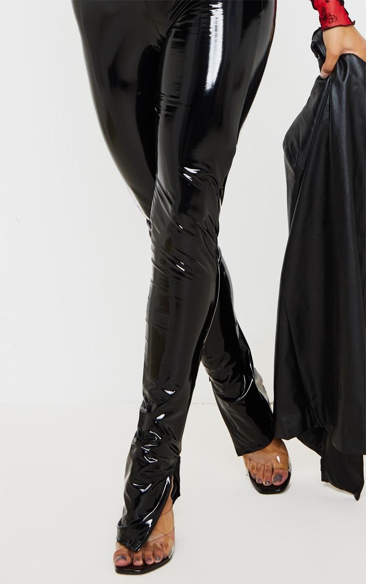 Black Vinyl Split Hem Skinny Trousers 5