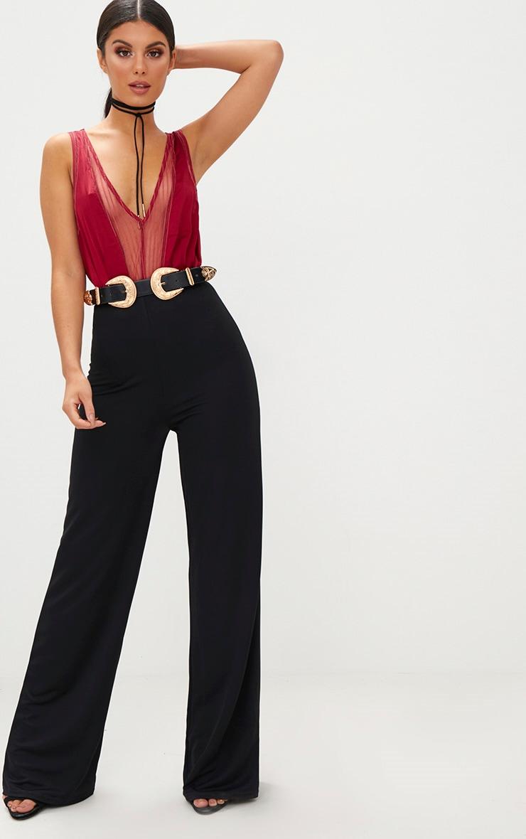 Burgundy Lace Insert Plunge Thong Bodysuit 5