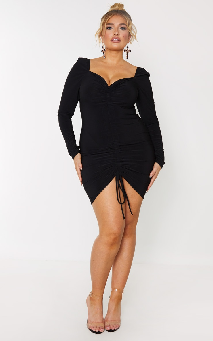 Plus Black Ruched Front Long Sleeved Bodycon Dress 4