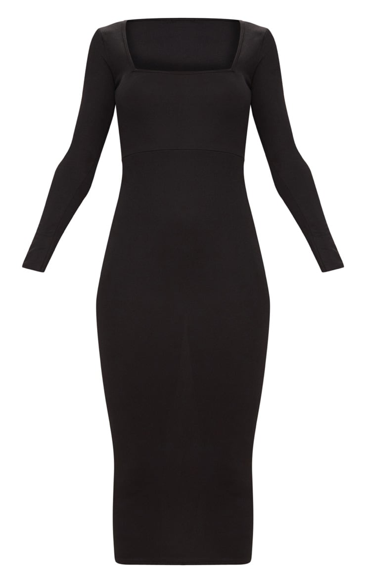 Black Square Neck Long Sleeve Midaxi Dress 3