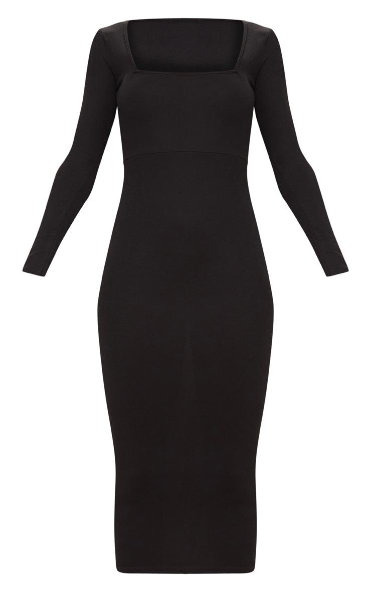 Robe mi-longue noire à manches longues et col carré 3
