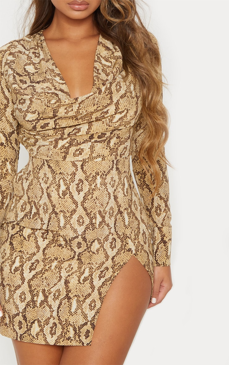 Beige Snake Print Cowl Neck Bodycon Dress 6